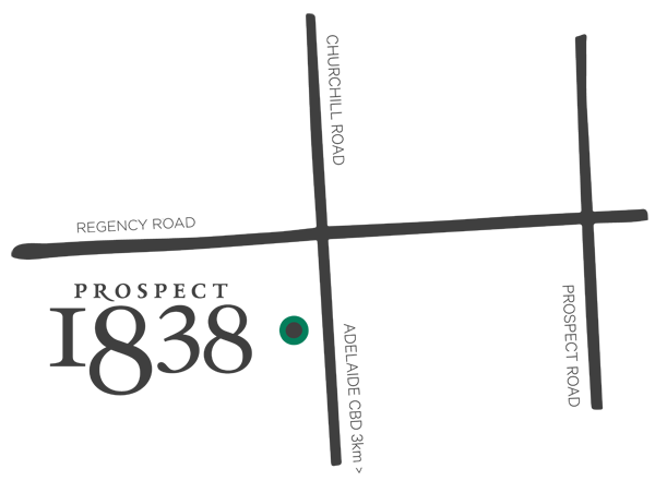 Prospect 1838 townhouse development Adelaide Map